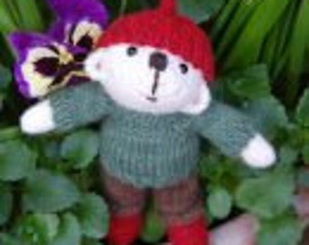 Bryn a hand made pocket size teddy bear knitted in pure Shetland wool
