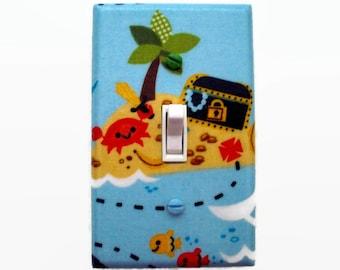 Treasure Island Light Switch Cover - Pirate Switch Plate - Nautical Nursery Decor - Boys Pirate Bedroom
