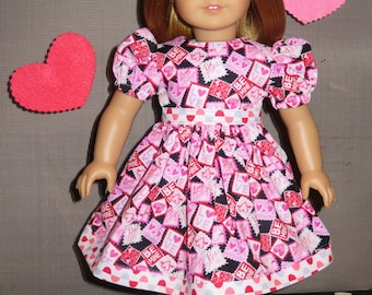 """Handmade Doll Clothes fits/for 18 inch American Girl Doll ~ """"Be Mine"""" Pink, Red, White & Black Valentine's Hearts Print Dress"""