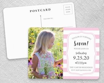 Birthday Stripes - Postcard - Save-the-Date
