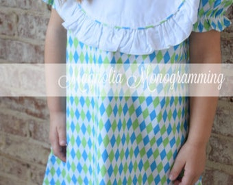 Monogrammable Girls Bib Dress, Monogram Girl Dress, Summer Girl Dress, Spring Dress for Girls, Monogram Dress for Girls, Toddler Dress
