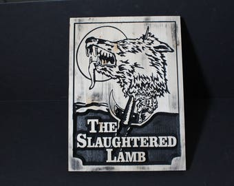 The Slaughtered Lamb | Wooden Carved Pub Sign | An American Werewolf in London | Horror Movie Memorabilia