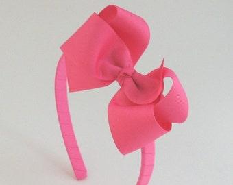 Hot Pink Hair Bow Headband, Little Girl Headband, Big Girl Headband, Hard Headband with Bow, Toddler Headband, Adult Headband