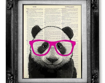 Panda Print, DICTIONARY ART PRINT, Dictionary Paper, Panda Bear Art, Panda Decor, Panda Wall Art Wall Decor Poster Painting - Nerdy Panda
