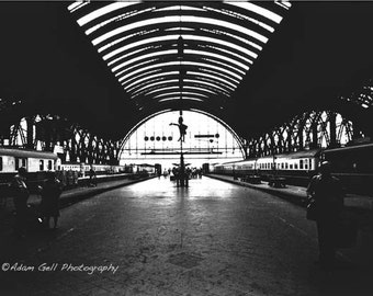 Frankfurter Bahnhof, train station, Frankfurt, Germany, Black and  WhitePhotography, Europe,Wall Art, Wall Decor