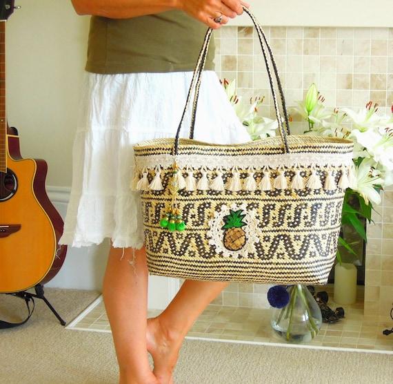 Tribal boho beach bag  Large woven basket  Borneo Kalimantan Anjat beach basket handwoven rattan bag