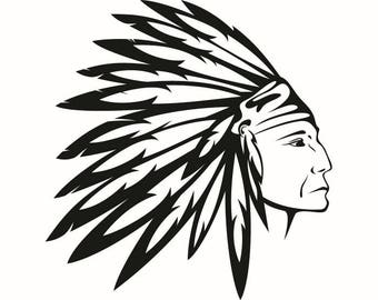American Indian #2 Native Warrior Headdress Feather Tribe Chief Aztec Mascot Tattoo Logo .SVG .EPS .PNG Clipart Vector Cricut Cut Cutting