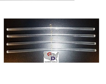 JERSEY Hanger for Display Case Frame - Clear Acrylic Rod with Hook Clothes Hanger - Lot of 4