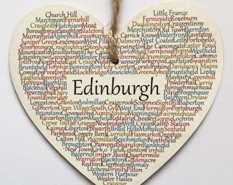 Edinburgh Hanging Heart Decoration, Edinburgh, Edinburgh Scotland Keepsake, Scotland United Kingdom, Scotland UK, Claire Kirkpatrick