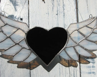 winged heart - black and white