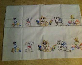 Hand made Embroidered Assorted Dogs Pillow Cases - 1 pr free shipping