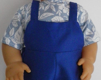 36-38 cm (ref 74) doll clothes: overalls + cotton shirt