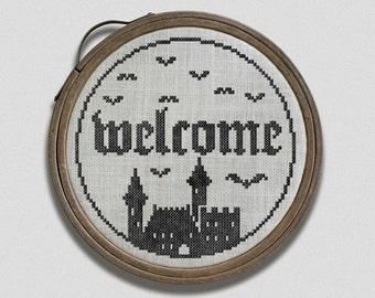 Welcome to my Castle: A Halloween Hoop Art Embroidery Chart - PDF Pattern Booklet, direct download
