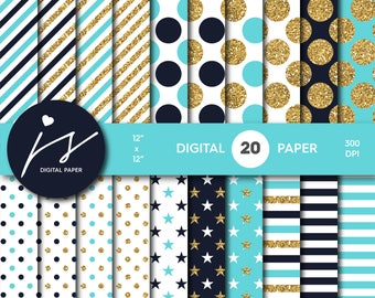 Turquoise and Navy blue gold glitter digital paper, Patterns, Backgrounds, Navy blue and Turquoise glitter gold digital scrapbooking, MI-755