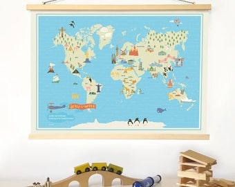 World map nursery etsy world map nursery illustrated poster kids animal world map boys baby room map kids map art gumiabroncs Image collections