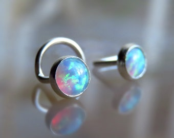 Fire Opal Stud Nose Ring / White Opal Nose Stud nose ring
