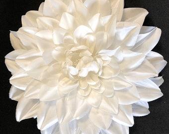 Large White Dahlia hair clip / fascinator