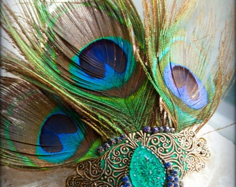 Peacock Goddess Hera - hair barrette fascinator with real feathers, assemblage vintage rhinestone fringe antique emerald green glass jewel