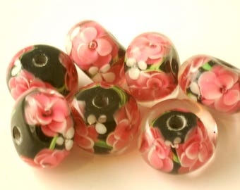 Encased Garden Lampwork Glass Rondelle Beads Double Pink Flowers (10)