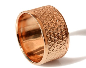 Wide rose Gold wedding band, men band,Textured  Wedding Band, 14k solid Gold ,Stars Texture wedding band, Handmade flower of life band