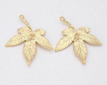 Maple Leaf Pendant Matte Gold- Plated - 2 Pieces <P0089-MG>