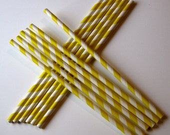 25 Paper Yellow and White Striped Straws - Free Printable Straw Flags