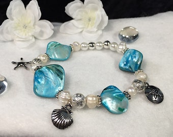 Handcrafted Bracelet - Blue Shell - Ocean Motif - with charms (#110)
