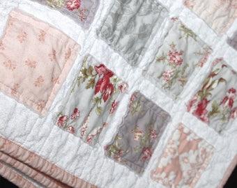 lavender peach quilt etsy rh etsy com shabby chic baby rag quilt shabby chic baby quilt fabric