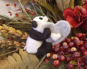 100% Wool Needle Felted Panda Bear