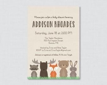 Woodland Baby Shower Invitation Printable OR Printed - Woodland Baby Shower Invites with Fox, Moose, Rabbit, Raccoon, Bear -  Woodland 0010