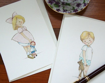 Boy and Girl Notecards - Blonde Hair - Children's Illustration, set of 8