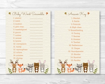 Woodland Forest Animal Baby Word Scramble / Woodland Baby Shower / Forest Animal / Fox / Deer / Bear / INSTANT DOWNLOAD A187