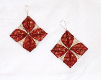 Asian Inspired Folded Christmas Ornaments - Pair