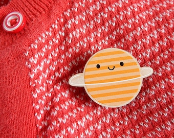 Happy Planet Kawaii Wooden Brooch - printed in full colour