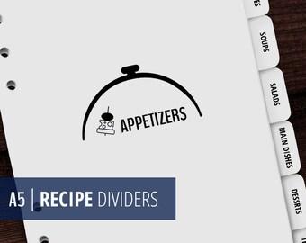A5 Recipe Binder Dividers / Printable Cook Book Dividers / Minimalist, Zen, Clean / Man cookbook / Man recipe / Man Cooks / Instant Download