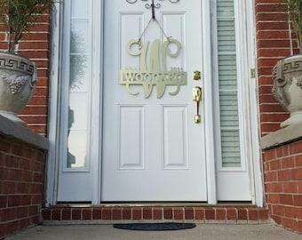 "24"" Custom Metal Door Hanger//Monogram//Wedding Gift//Anniversary Gift//Housewarming Gift//Personalized Gift//Family Name//Home Decor"