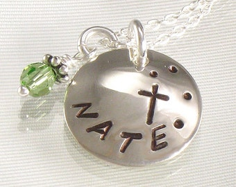 Personalized Cross Necklace for Girls - Hand Stamped One Name Domed Charm - Great for First Communion, Baptism, Confirmations, Birthdays