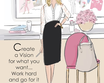Heather Stillufsen - Wall Art for Women - Create A Vision - Motivational cards and quotes Wall Art Print
