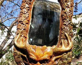 Cernnunos mirror with Tea lite candle holder, looks amazing lit up in a dark room. pagan, wiccan