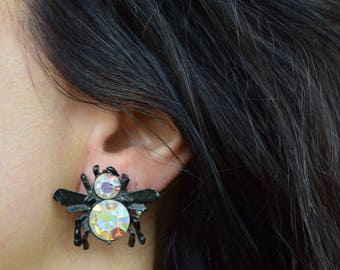 Black fly earrings. Aurora Borealis insect screwback earrings. 1940's earrings.