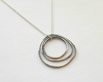 Three Ring Necklace Loop Necklace Sterling Silver Necklace River Ring Necklace Tree Ring Necklace Bent Ring Necklace Everyday Necklace