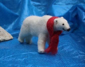Polar Bear with Snuggly Scarf (detachable) - Needle Felting Kit for beginners