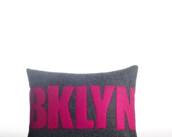 """Decorative Pillow, Throw Pillow, """"BKLYN"""" pillow, 10X14 inch"""