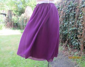 Two Layers Skirt / Wrap Skirt / Skirt Vintage / Size EUR42 / UK14 / Color Plum
