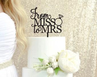 De Miss à Mme gâteau - Décorations nuptiales de douche - douche nuptiale de gâteau - dernière Fling avant de l'anneau - nuptiale de gâteau