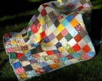 Patchwork Quilt, Classic Americana--Extra Picnic size--85 X 85--made to order, cotton blanket