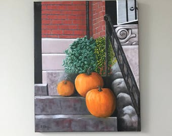 Pumpkins on the Steps of a Brick Building