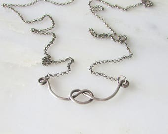 Knot Pullover Necklace   Oxidized Sterling Silver   Minimal * Free Shipping in US