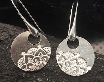 Large Sterling Silver Earrings Mandala Earrings Tribal Earrings Birthday Gift Dangle Silver Earrings Jewelry earrings Handmade