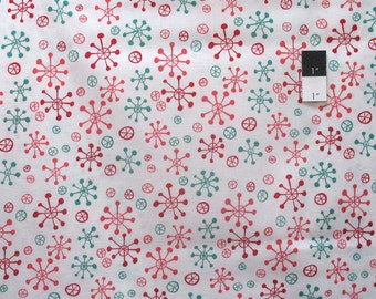 David Walker PWDW098 Winter Wonderland Snow Flakes Candy Cane Cotton Fabric By Yard
